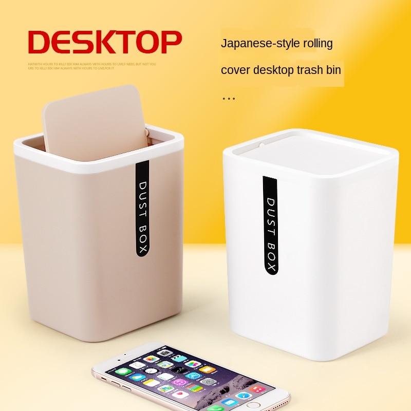 Creative Mini Small Waste Bin Desktop Basket Garbage Home Table Plastic Office Supplies Trash Can Dustbin Sundries Barrel Boxes enlarge