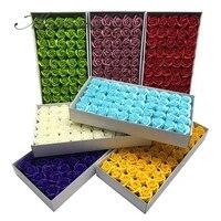 Boites de savons en forme de roses  50 pieces  4 5cm de diametre  fausses fleurs  pour un bouquet de mariage  pour la Saint-Valentin  pour decorer la maison