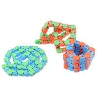 2021 hot 1pcs 24 knots multicolor wacky tracks snap and click fidget toys kids autism snake puzzles classic sensory toy