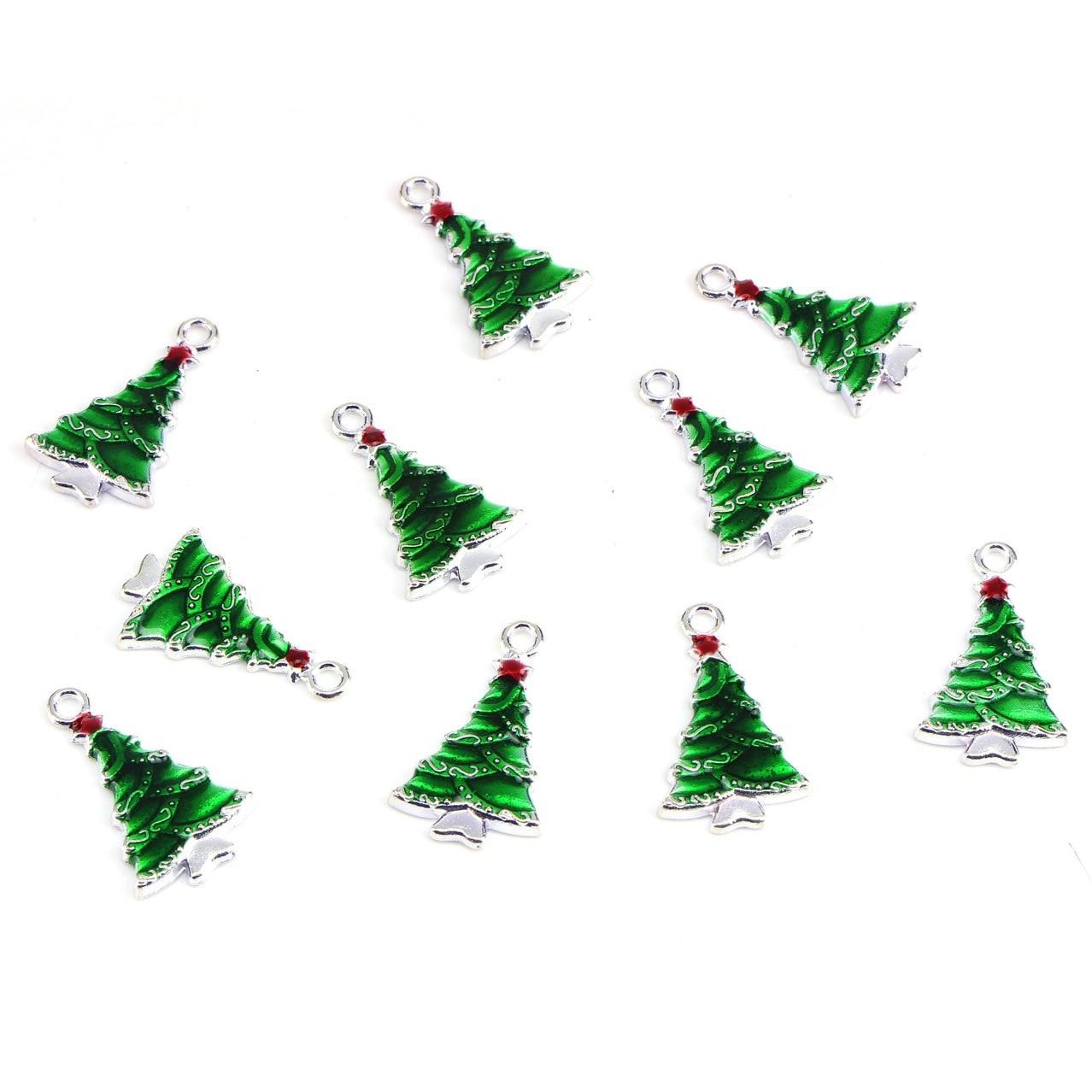10-шт-лот-зеленая-Рождественская-елка-эмалевые-Подвески-поплавки-diy-Изготовление-ювелирных-изделий-ручной-работы