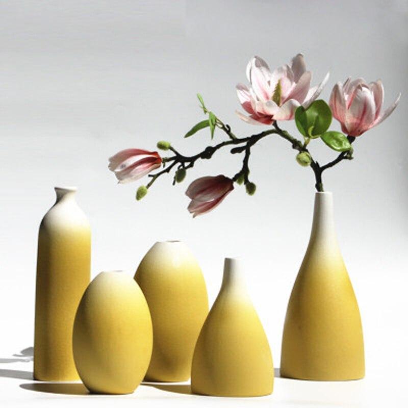 Florero original decoración Hogar Moderno moler jarrones de cerámica Mesa florero de cerámica decoración del hogar azul y amarillo