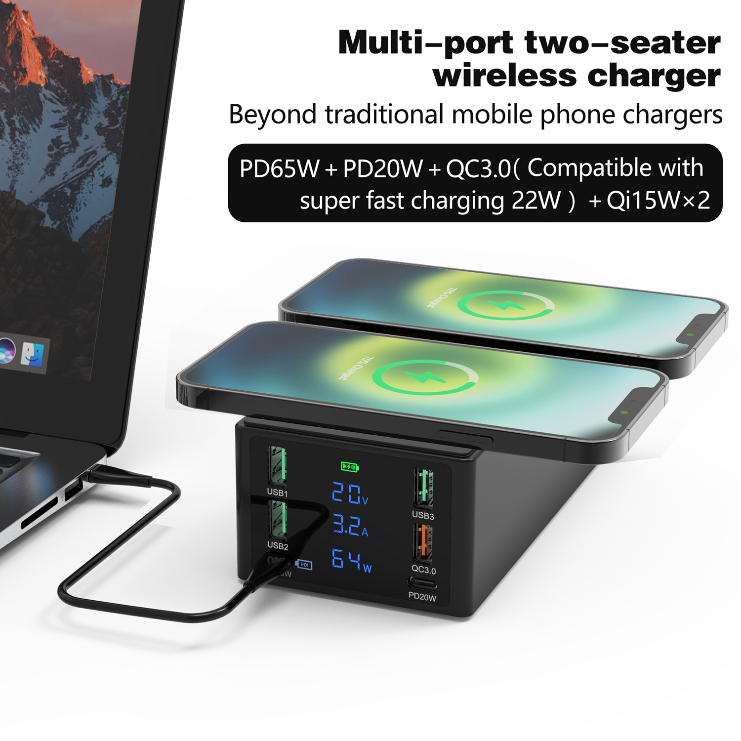 ilepo-150w-usb-charger-qc3-0-fast-wireless-charger-for-iphone-11-12-pro-max-multi-port-65w-pd-charger-charging-dock-station