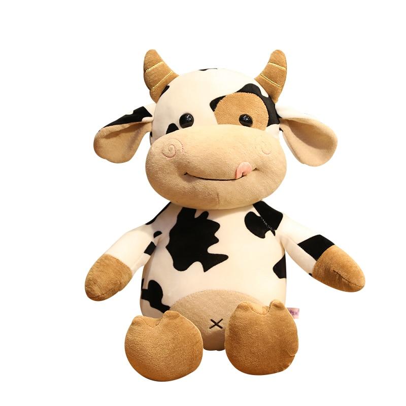 Sexy quente bonito simulação de leite vaca brinquedos de pelúcia dos desenhos animados adorável gado boneca de brinquedo animal de pelúcia para crianças macio travesseiro presente menina