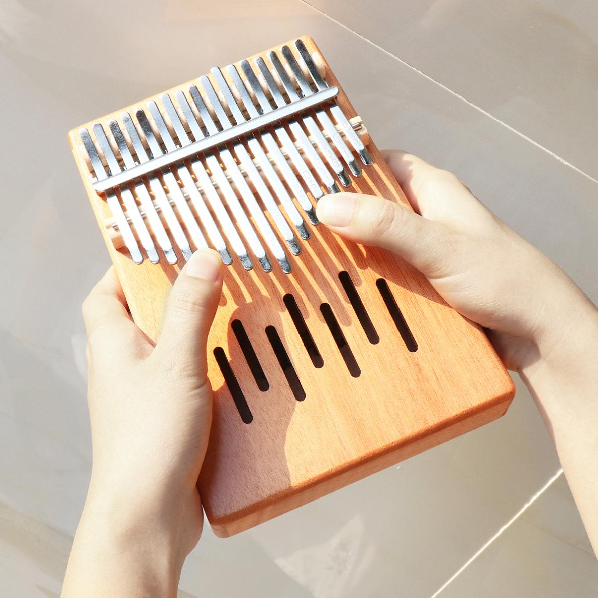 17 Key Kalimba Single Board Mahogany Waterfall Sound Hole Mbira Mini Keyboard Instrument Thumb Piano enlarge