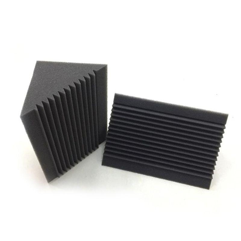 Quality 6 PCS Acoustic Foam Charcoal/Black Bass Trap Sound Absorption Studio Soundproofing Corner Wall 12 x 12 x 24 cm