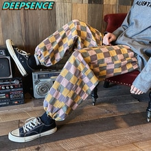 2021 New Four Seasons Casual Pants Japan Harajuku Style Grid Wide Pants Men Elastic Leg Opening Ankl
