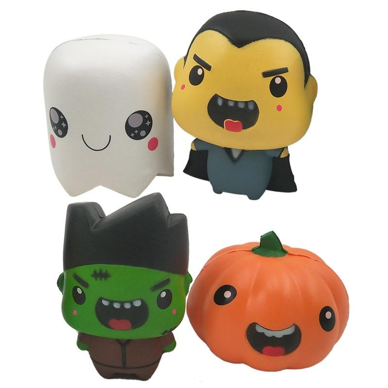 Kids Fidget Toys Simulational Halloween Funny Pumpkin Antistress Vent Slow Rebound Dolls Kawaii Gifts For Children Adults 18