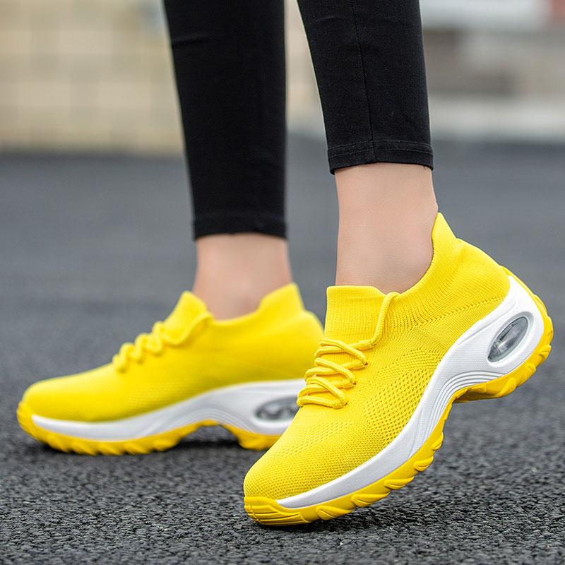 MWY-حذاء رياضي نسائي أصفر ويدج ، مريح ، غير رسمي ، منصة ، مقاس كبير