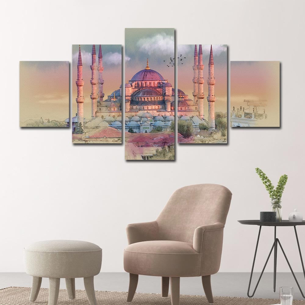 Lienzo de pared con marco de 5 uds. De Vtuart Hagia Estambul, collar de agua turco, impresión moderna en HD, Arte Religioso Islámico