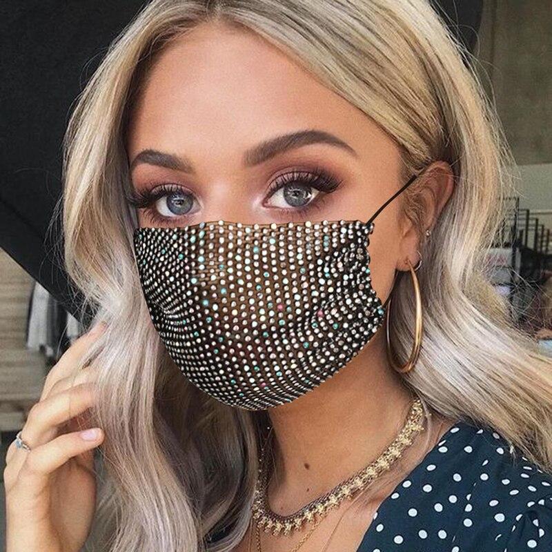 2020 Fashion Face Decor Jewelry Elastic Mask With Rhinestones Fashion Masks Sparkly Rhinestone Mask