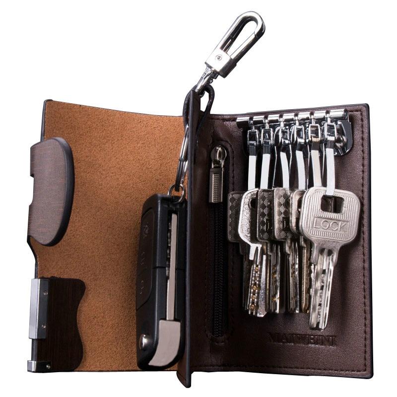 محفظة من الجلد الطبيعي مع مزلاج لمفاتيح السيارة ، ومحفظة نقود ، ومحفظة من جلد البقر الصلب ، Llavero Con Monedero