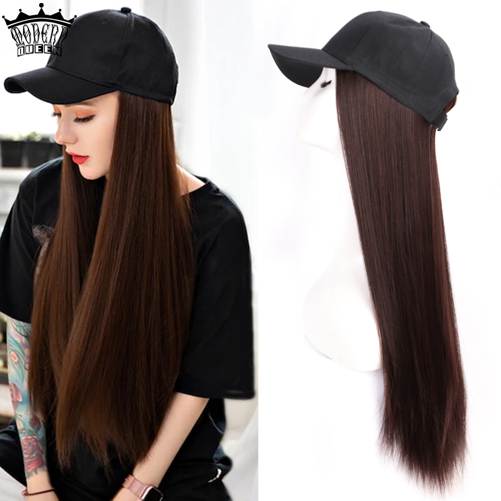 Long Synthetic Baseball Cap Hair Wig Natural Black / Brown Straight Wigs Naturally Connect Synthetic