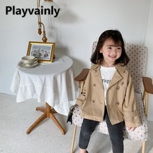 2021 New Baby Girls Coat Khaki Casual Coat double-breasted  Loose Dust coat Girl Clothes E100109