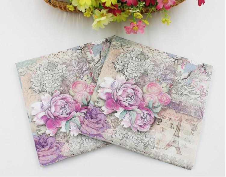 Bloosm flor rosa con motivo de flamencos papel pañuelos servilletas decoración Decoupage suministros festivos fiesta