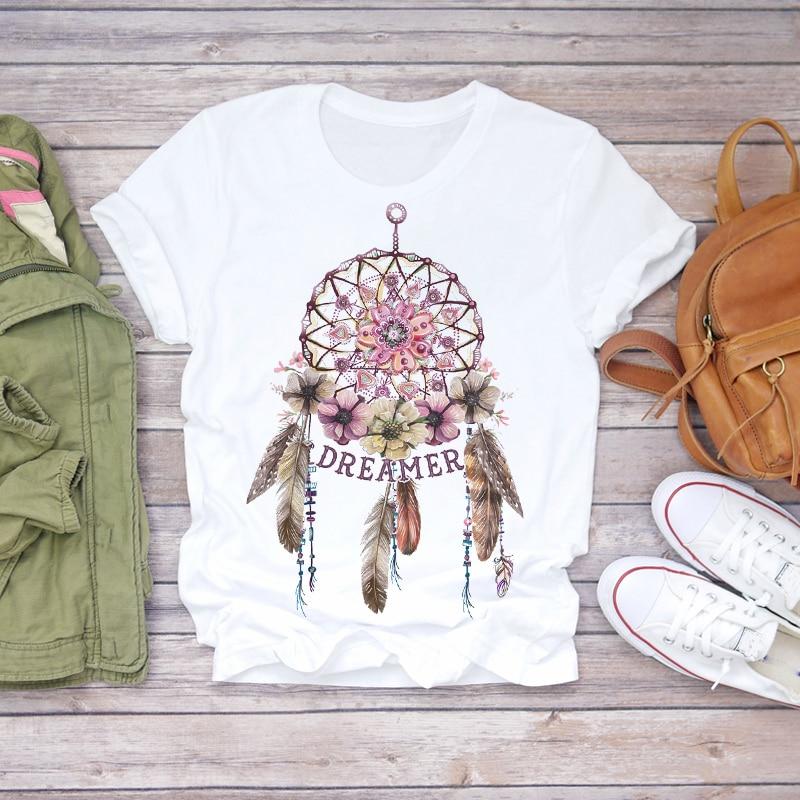 Women 2021 Summer Short Sleeve Dream Feather Fashion Print Lady T-shirts Top T Shirt Ladies Womens Graphic Female Tee T-Shirt