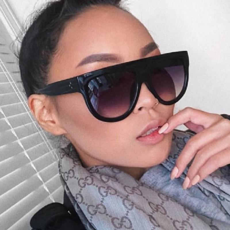Oversize Sunglasses Women Brand Shades Men Retro Flat Top Cat eye Glasses Design Vintage Sunglass Fe