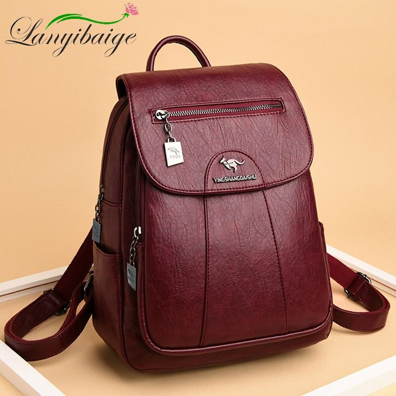 5 لون المرأة لينة حقيبة ظهر مصنوعة من الجلد خمر حقائب كتف الإناث كيس دوس عادية السفر السيدات على ظهره Mochilas الحقائب المدرسية