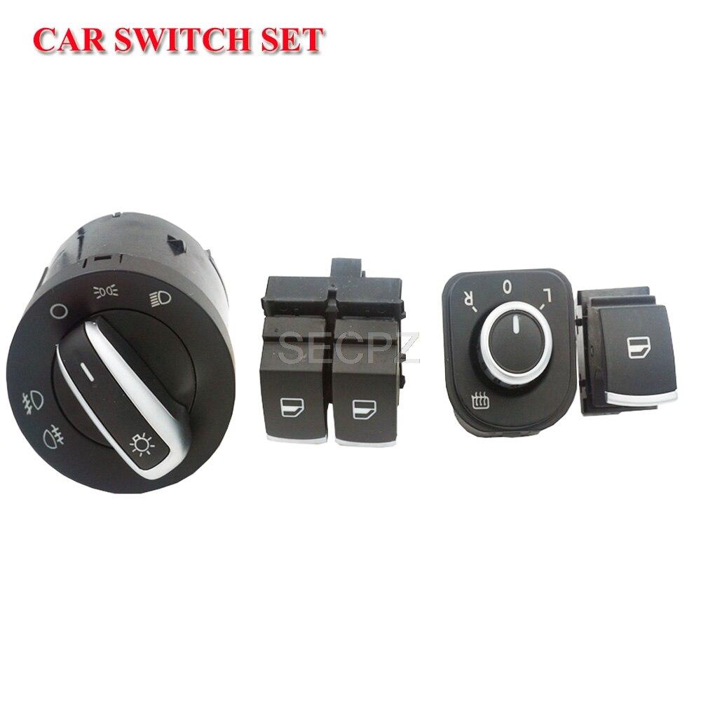 Interruptor do farol interruptor Espelho Botão Interruptor Da Janela Para Volkswagen VW Passat Eos Golf 5 B6 6 R32 MK5 MK6 Tiguan 4 pçs/set 5K3959857