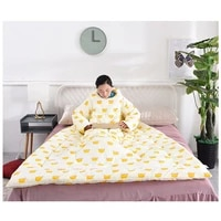 winter lazy quilt with sleeves wearable blanket wrap throw robe thicken nap tv blanket anti kick childrens bed quilt with zipper