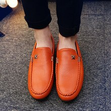 2021 Autumn and Winter New Peas Shoes Men's Casual Shoes Driving Fashion All-match Leather Shoes Bre