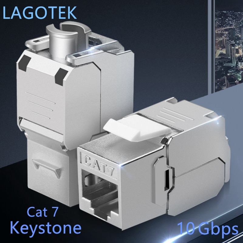 Купить с кэшбэком 12/24pcs RJ45 Keystone Cat7 Cat6A Shielded FTP Zinc Alloy Module Network Keystone Jack Connector Adapter 10GB Network