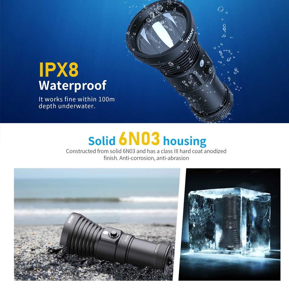XTAR IPX8 Waterproof Diving Flashlight D28 3600 Super Bright Led Scuba Diver Light Beam Torch Lamp Lanterna Flashlight 18650 enlarge