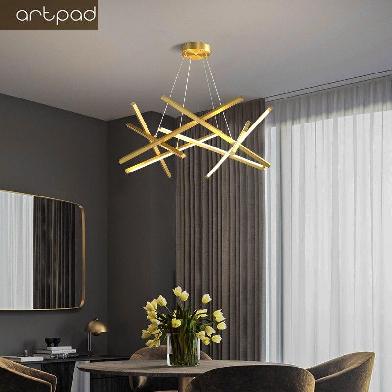 Artpad Moderne Nordic Gold/Zwart Led Kroonluchters Verlichting Voor Living Eetkamer Home Decoratie Opknoping Lamp Minimalistische Stijl