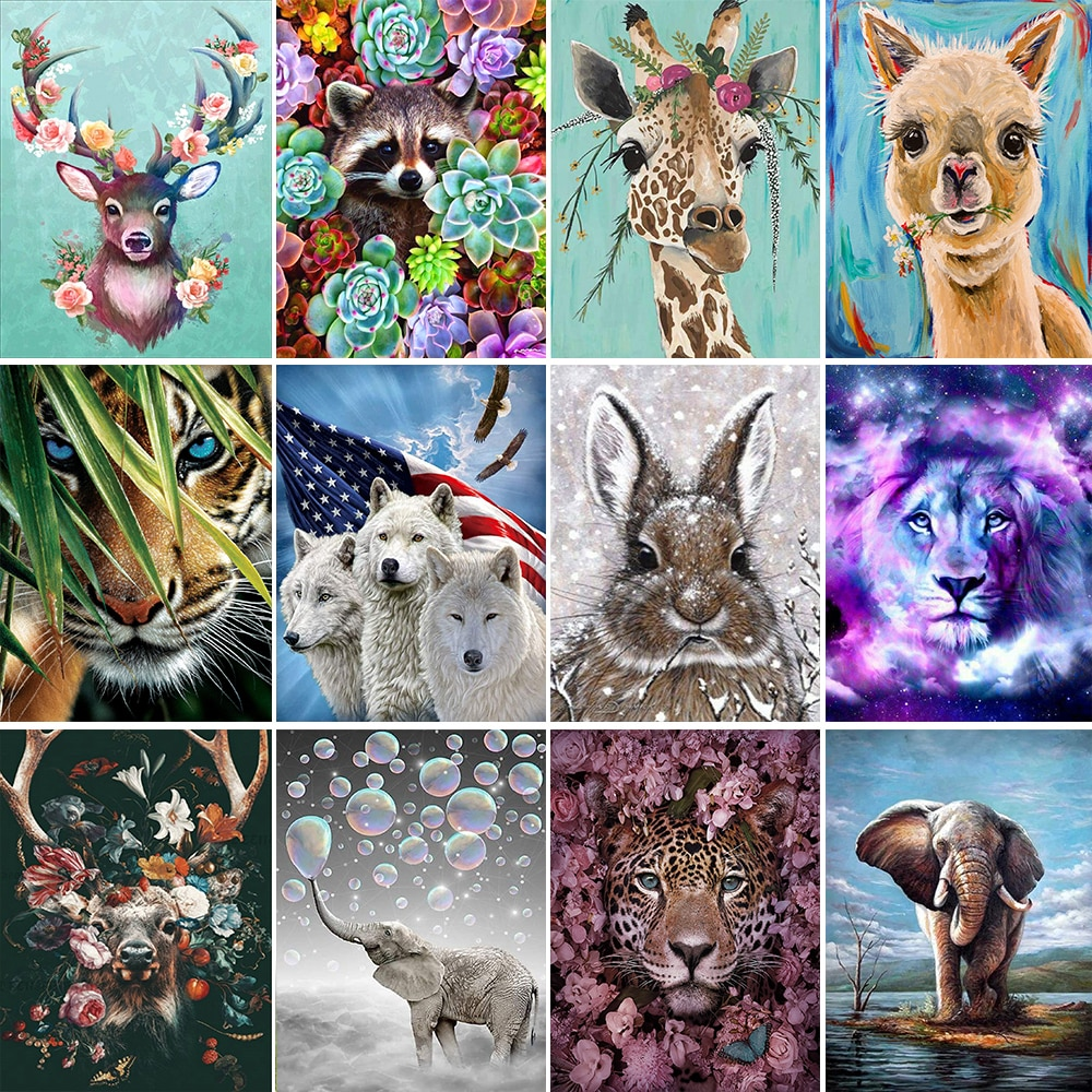 5D painting animal diy giraffe combination round diamond full lion elephant embroidered decorative painting20*30