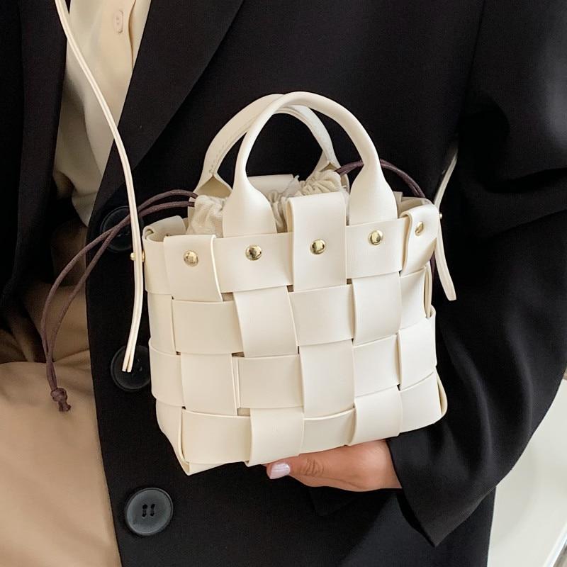 Leather Weave Shoulder Bags for Women Luxury Brand Crossbody Bag New Unique Summer Handbags Female Rivet Woven Messenger Bag Sac