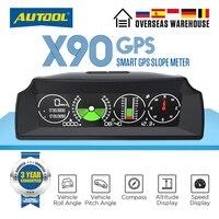 Автомобильный Инклинометр AUTOOL X90, прибор для измерения скорости, наклона, 12 В, с общим проекционным дисплеем, с угловым транспортиром наклон...