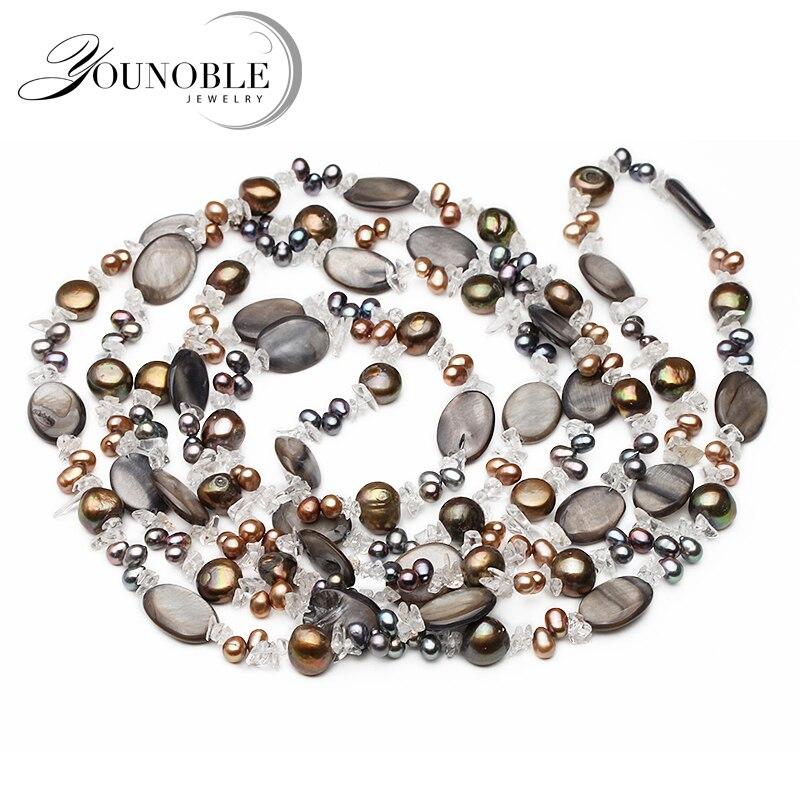 Beau collier long femme 120 cm, perles baroques noir gris blanc collier de perles femmes