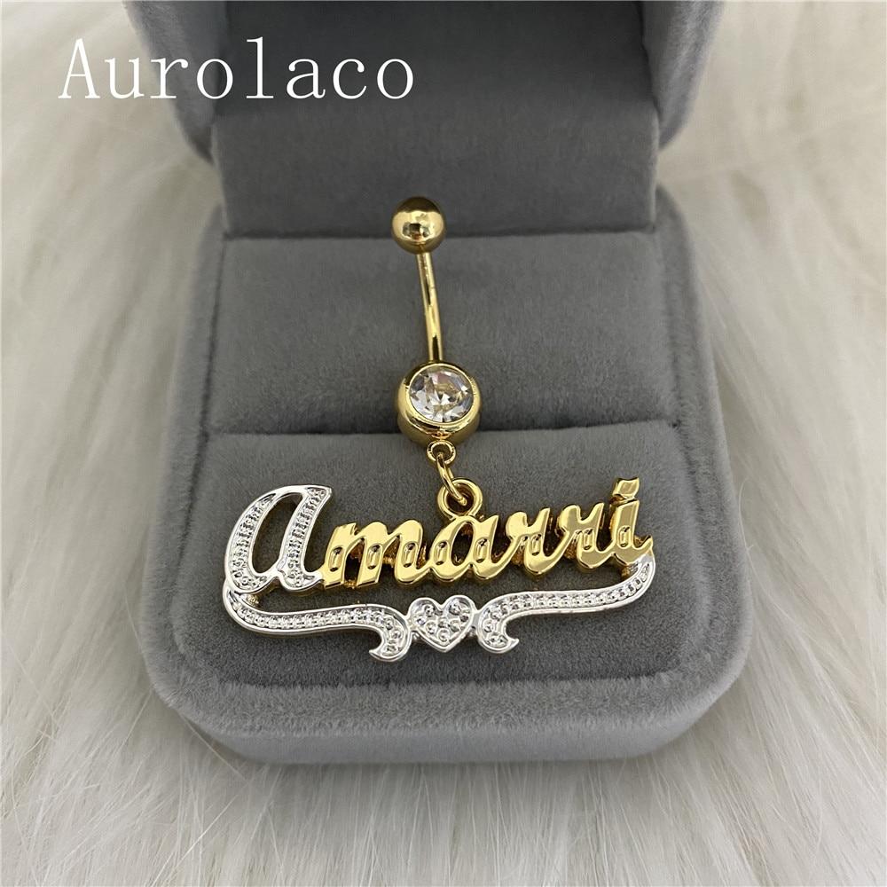 AurolaCo مخصص اسم البطن خاتم الفولاذ المقاوم للصدأ مخصص مجوهرات للجسم الزركون البطن خاتم الذهب اللون هدية للنساء