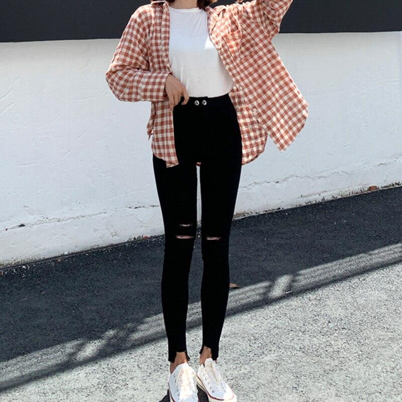 Новые модные женские рваные узкие джинсовые брюки с высокой талией, женские повседневные брюки, Стрейчевые брюки, джинсы-карандаш 2021