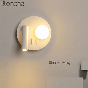 Nordic Modern Wall Light Minimalist Wall Lamp Bedroom Bedside Mirror Light Rotated with Switch Indoor Lighting Wall Sconce 220V