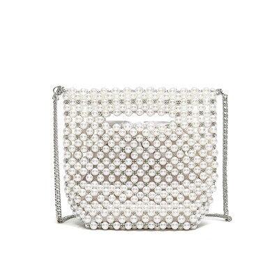 Bolsas de Pérola Bolsas de Ombro Artesanal Designer Frisado Charme Pérolas Brancas Crossbody Bolsa Noite Luxo Embreagem Senhora 2021