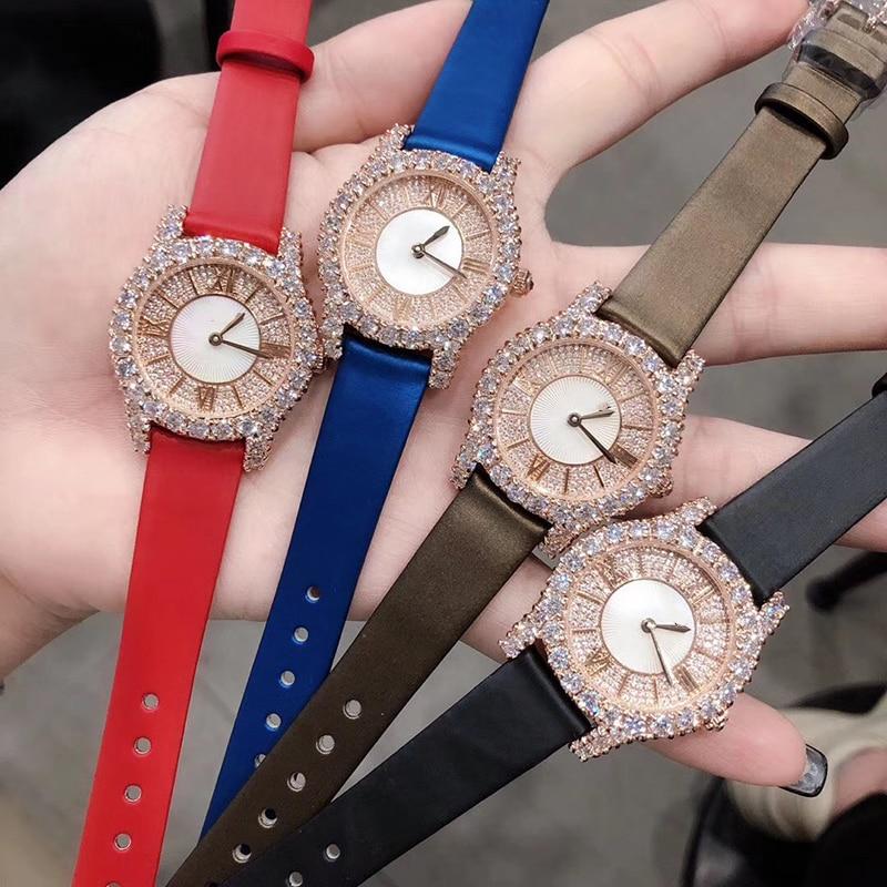 Reloj de cuero genuino de marca, reloj de Color oro rosa de lujo, reloj de pulsera de cuarzo rectangular de 36mm, reloj de esfera de piedra completa para mujer