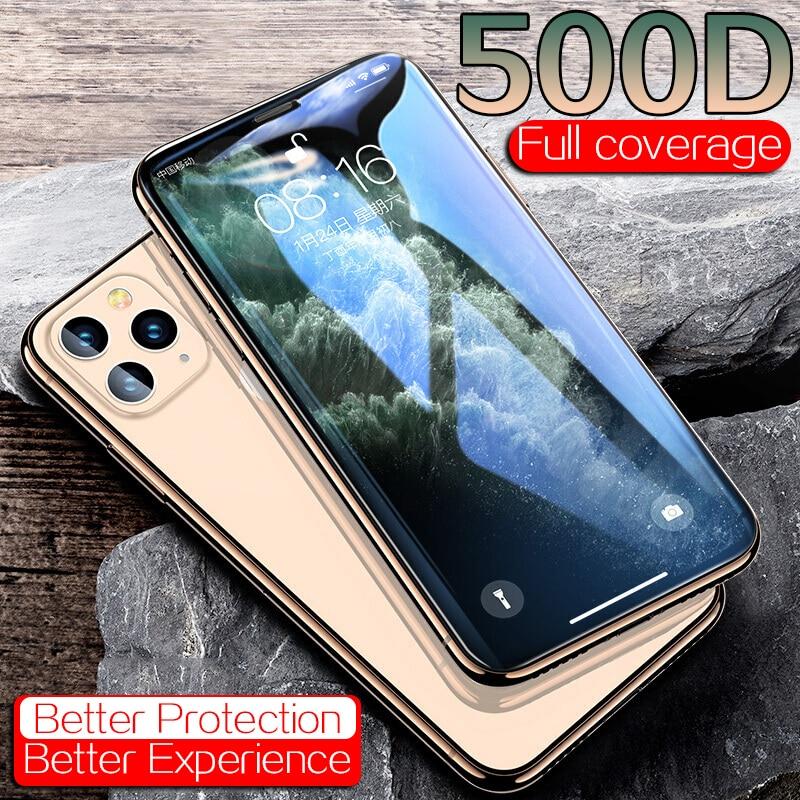 Protector de pantalla 500D de vidrio Protector para iPhone 11 Pro XS Max X XR para iPhone 7 8 6 Plus X 6s