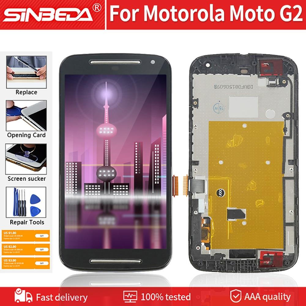 """Pantalla LCD digitalizadora de 5,0 """"Original para Motorola Moto G2, pantalla táctil con marco de montaje para Moto G2 XT1063 XT1068 XT1069 LCD"""