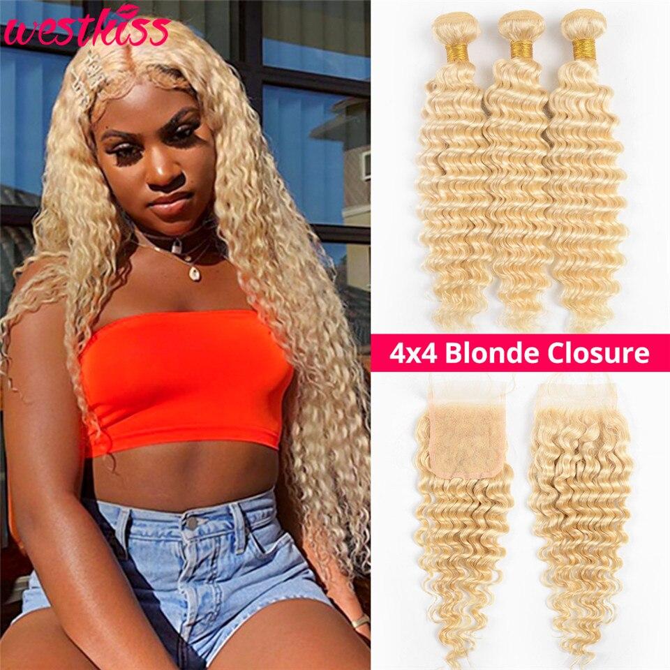 West Kiss Hair 613 Bundles With Closure Brazilian Deep Wave Bundles With Closure 4x4 Free Part Human Hair Lace Closure Remy