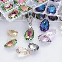 new design glitter drop rhinestones pendants high quality glass crystal beads jewelry making diy accessories pendant beads