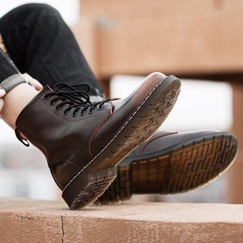 Zapatillas Altas De cuero para Hombre, calzado deportivo De alta calidad, informal,...