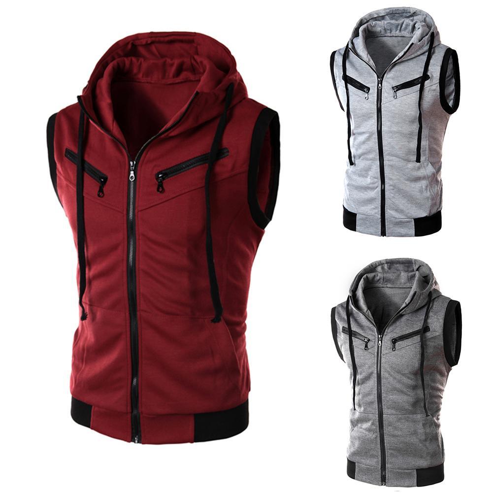 Men's Sports Vest Sleeveless Hooded Collar Vest Top Cloth Fitness Work Out Zipper Waistcoat Jacket