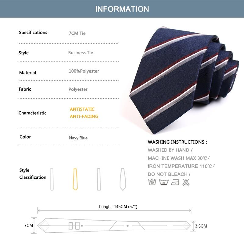 New Design Men's Classic Navy Blue Striped Neck Tie Fashion Formal Tie High Quality 7CM Ties For Men Business Suit Work Necktie