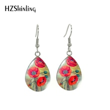 2020 New Red Poppies Flower Oi Painting Dangle Earrings Beauty Red Flowers Paintings Patterns Stainless Steel Hook Earrings