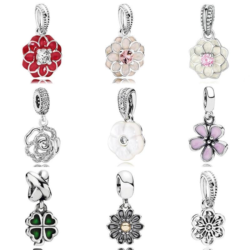 Esmalte deslumbrante de cerezo en flor Dahlia Gerbera Flowe Clover, colgante con abalorio compatible con pulsera Pandora, joyas de plata de ley 925