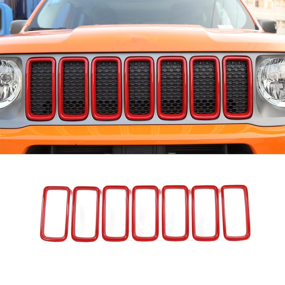 Para jeep renegado 2019 2020 2021 grade de malha dianteira decoração capa anel adesivos acessórios do carro externo estilo abs vermelho preto