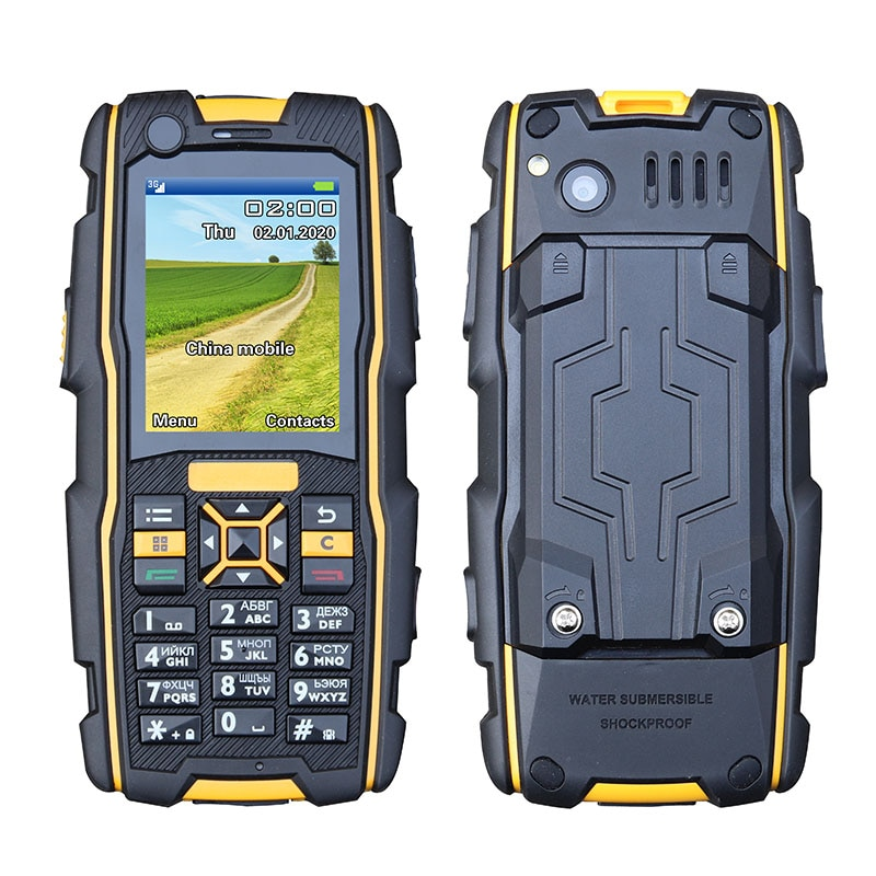No Russian writing IP67 waterproof rugged 3G WCDMA GSM shockproof SOS Mobile Phone Speed dial Flashlight cell Phones push-button