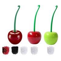 Креативный Набор ершиков для унитаза в форме вишни/яблока, Милый скраб, толстая щетка, тщательно очищающий комод, бордовый, зеленый, белый цв...