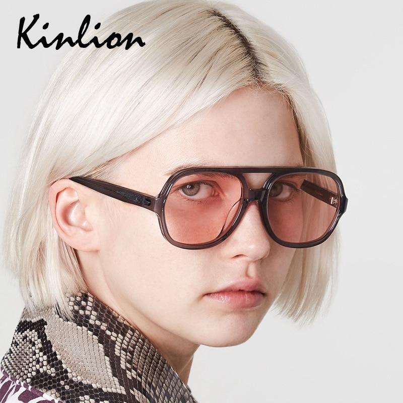 Kinlion Vintage Oversized Pilot Sunglasses Women Men Plastic Round Sun Glasses Female Luxury Brand L