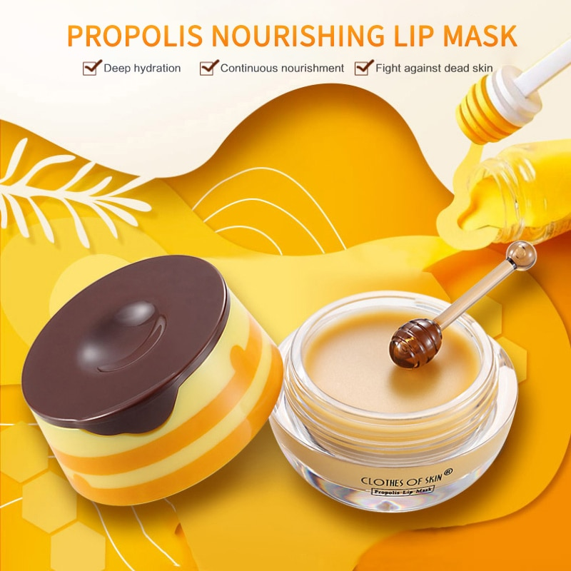 Propolis Lip Skin Care Propolis Lip Mask Moisturizing Lip Mask With Lip Brush Nourishing Lip Plumper Lip Balm Propolis TSLM1